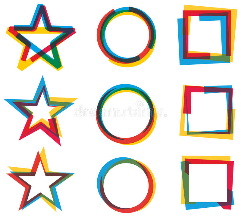 Star Circle Square Logo Set. A colourful Star Circle and Square logo icon set