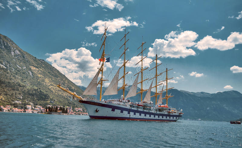 Star Clippers sailboat in Boca Bay of Kotor Perast in about June stock image