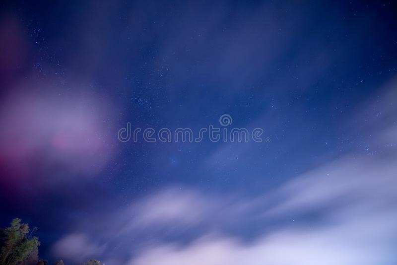 Star Cluster in the night sky with windy and mist in the winter. Space background picture royalty free stock photography