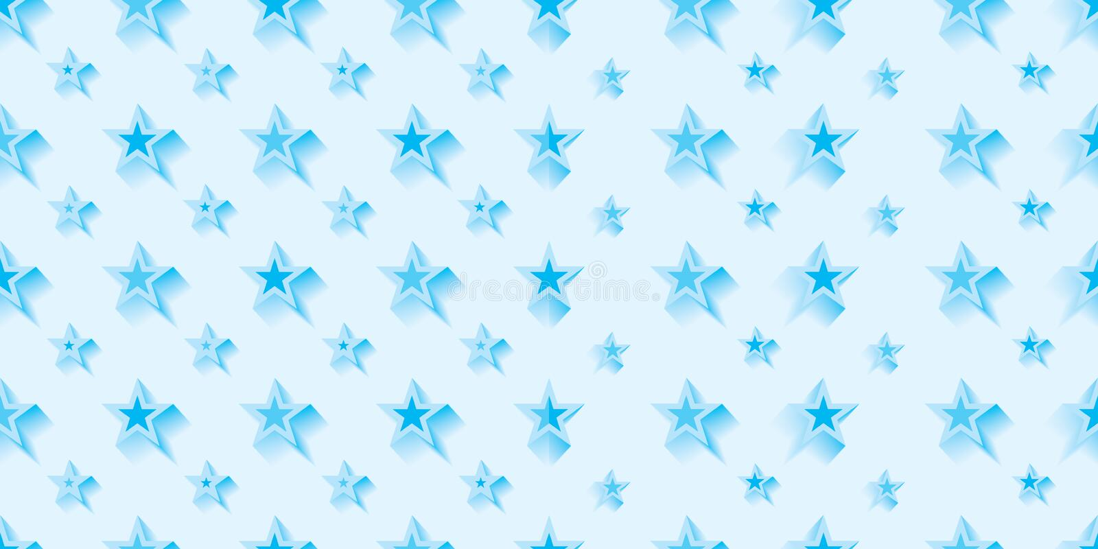 Star cold blue symmetry combine seamless pattern stock illustration