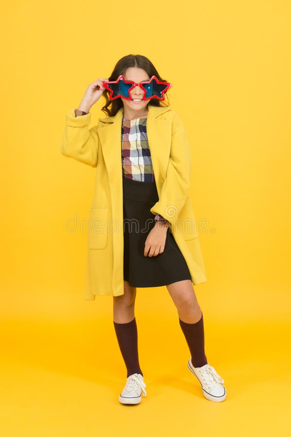 Star concept. Fame and popularity. Popular schoolgirl. Carnival costume famous celebrity. Rock star. Party holiday stock photo
