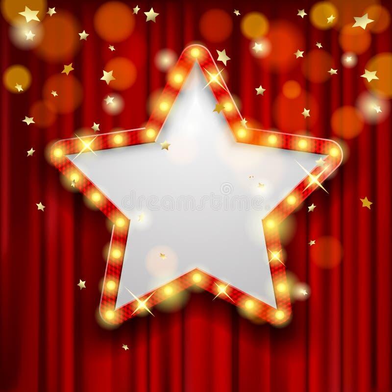 Star a concessão na cortina vermelha com chuva das luzes ilustração do vetor