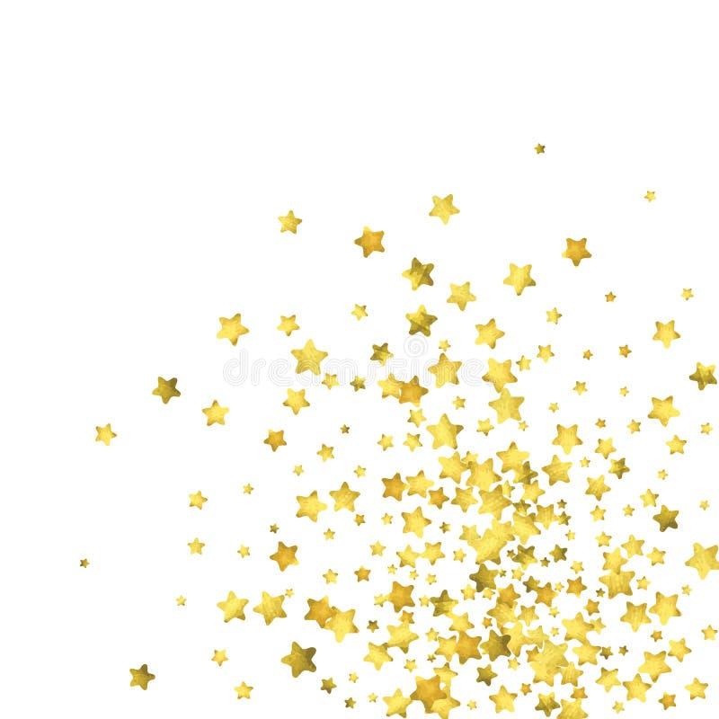Star confetti. Gold random confetti background. Bright design template. Vector white and yellow cover template. Birthday or wedding invitation template vector illustration