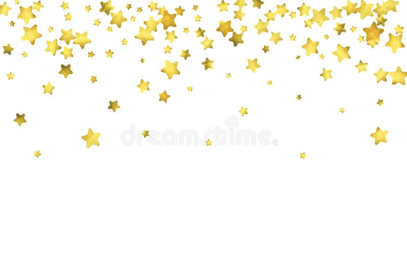 Star confetti. Gold random confetti background. Bright design template. Vector white and yellow cover template. Birthday or wedding invitation template stock illustration
