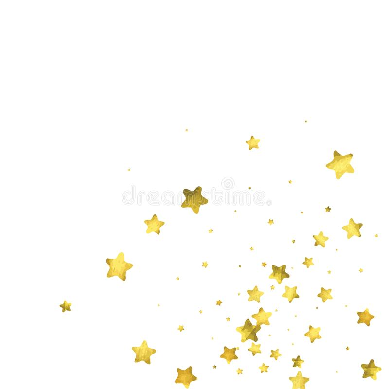 Star confetti. Gold random confetti background. Bright design template. Vector white and yellow cover template. Birthday or wedding invitation template royalty free illustration