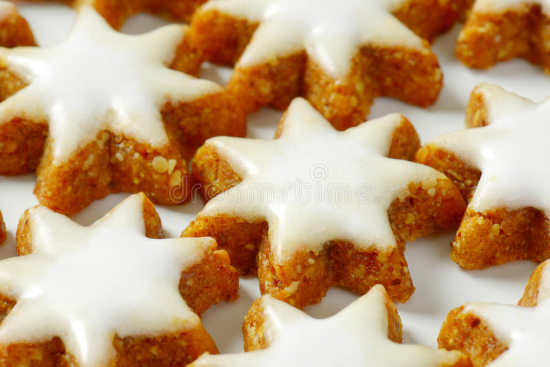 Star cookies. Detail of christmas star cookies royalty free stock photo