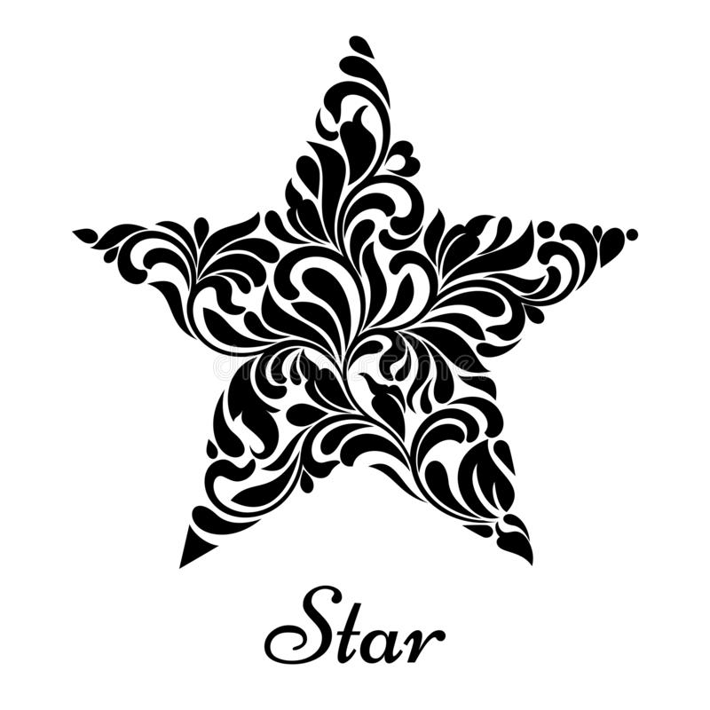 Star created from abstract flower ornament on a white background. Star created from abstract flower ornament isolated on a white background royalty free illustration