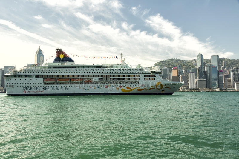 Star Cruises cruise ship in the Hong Kong harbour royalty free stock image
