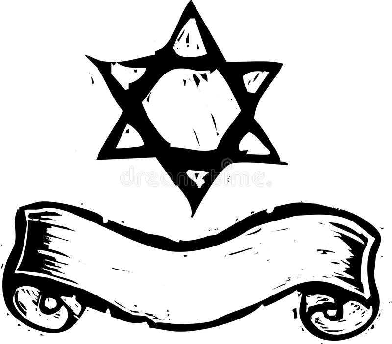 Star of David and Banner vector illustration
