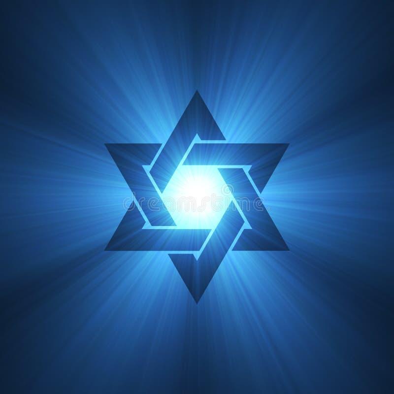 Star of David symbol blue light flare stock illustration