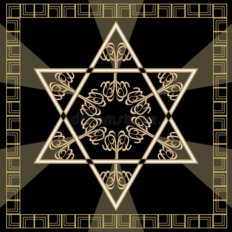 star of david decoration tile with geometric vintage yew ornament in gold design israel. Black Bedroom Furniture Sets. Home Design Ideas