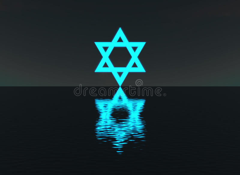 Star of David glowing over water night scene royalty free illustration
