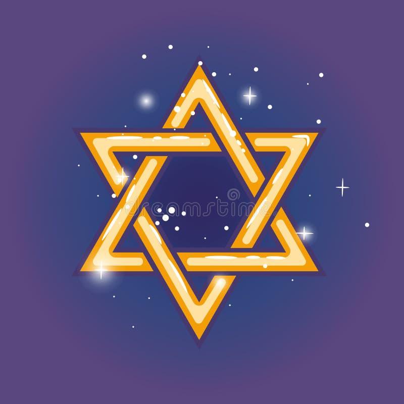 Star of david for hanuka. Star of david. Jewish shield zion star for hanuka gold on blue background. Vector illustration stock illustration