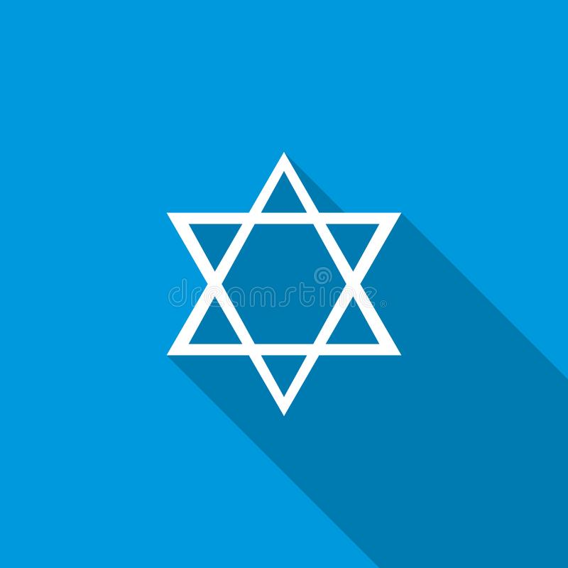 Star of David icon, flat style. Star of David icon in flat style icon in flat style on a blue background royalty free illustration
