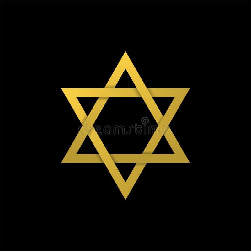 Star of David icon. Golden Star of David icon. Generally recognized symbol of modern Jewish identity and Judaism, Israel symbol stock illustration