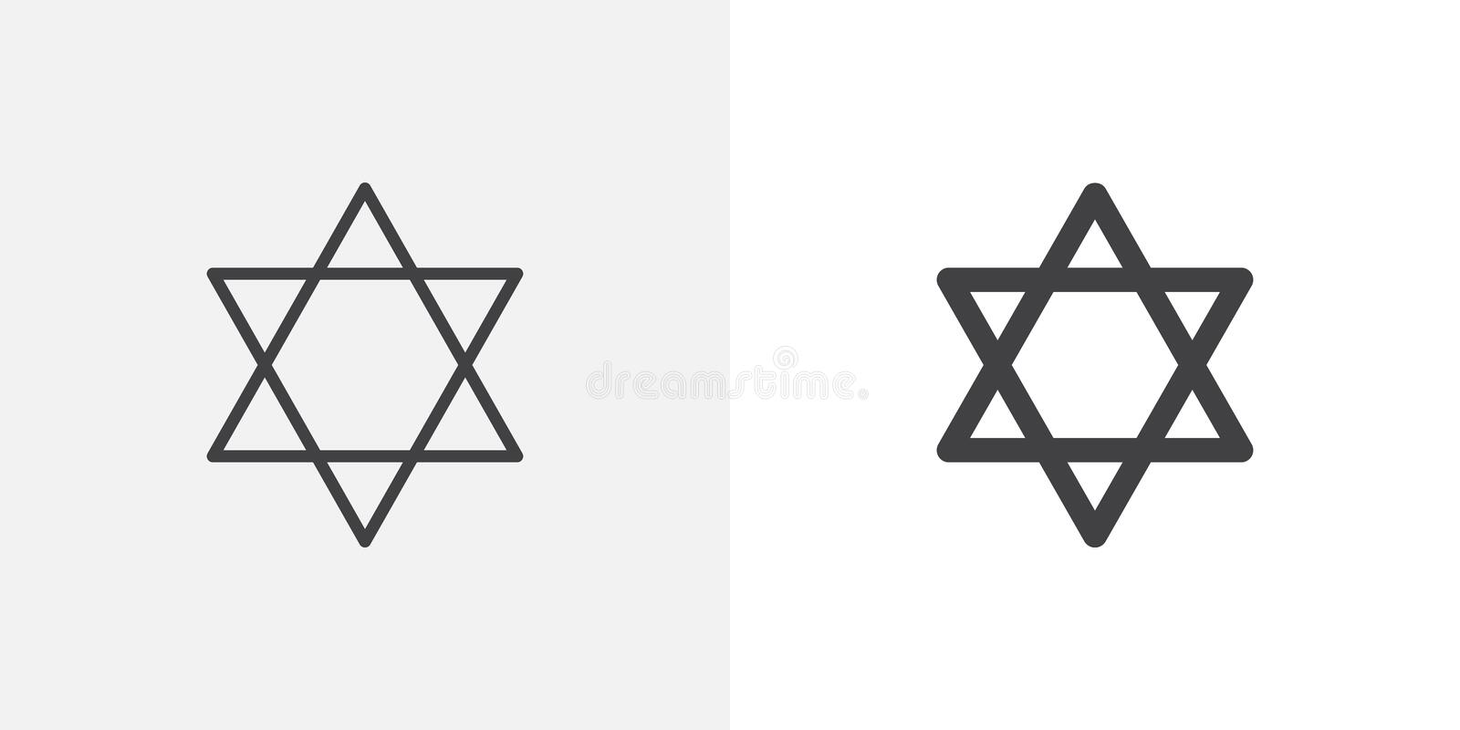 Star of David icon. Line and glyph version, outline and filled vector sign. Jewish star linear and full pictogram. Judaism symbol, logo illustration. Different vector illustration
