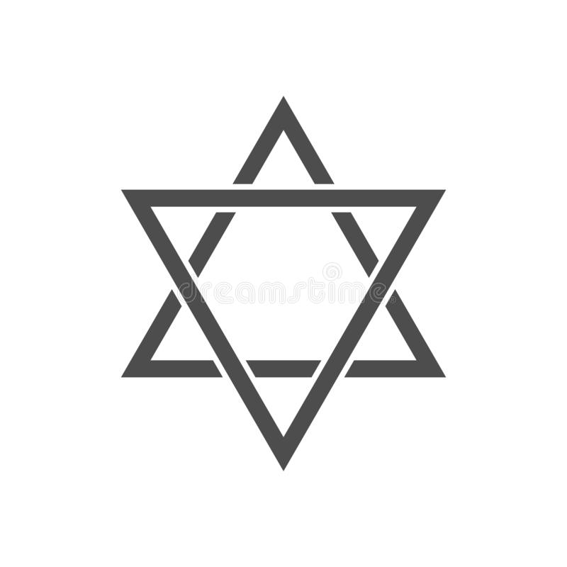Star of David icon. Six pointed geometric star figure, generally recognized symbol of modern Jewish identity and Judaism Israel symbol vector illustration