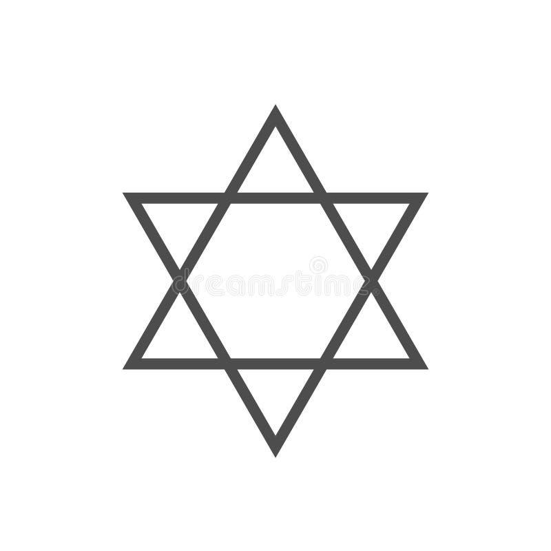 Star of David icon. Six pointed geometric star figure, generally recognized symbol of modern Jewish identity and Judaism Israel symbol stock illustration