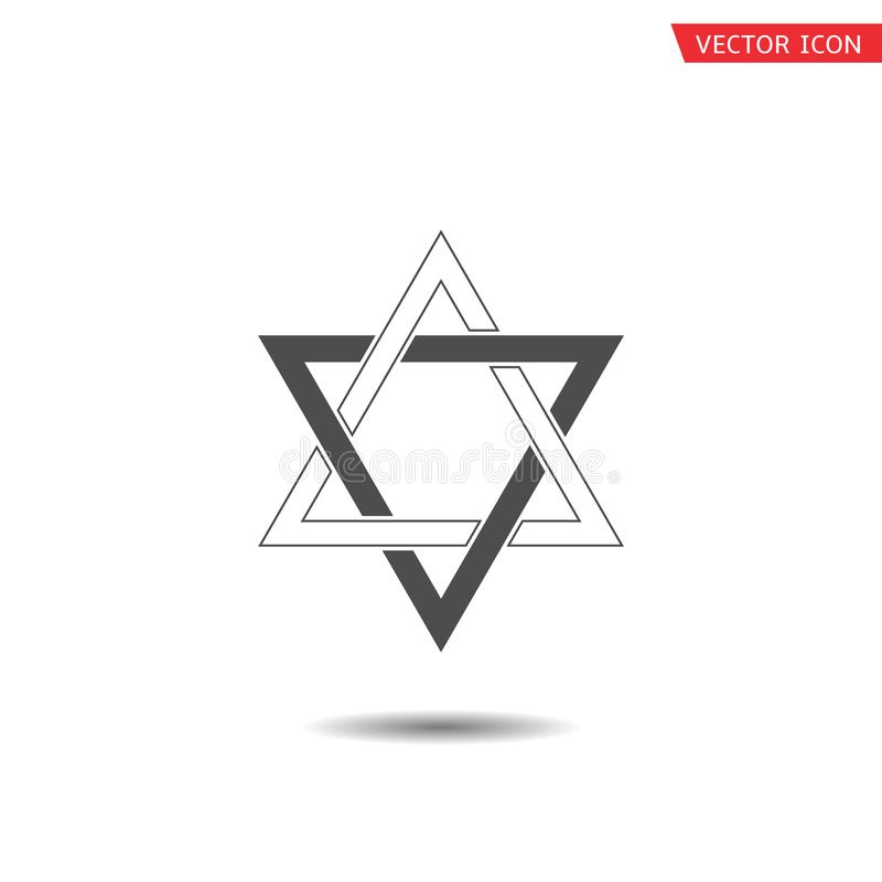 Star of David icon. Six pointed geometric star figure, generally recognized symbol of modern Jewish identity and Judaism Israel symbol royalty free illustration