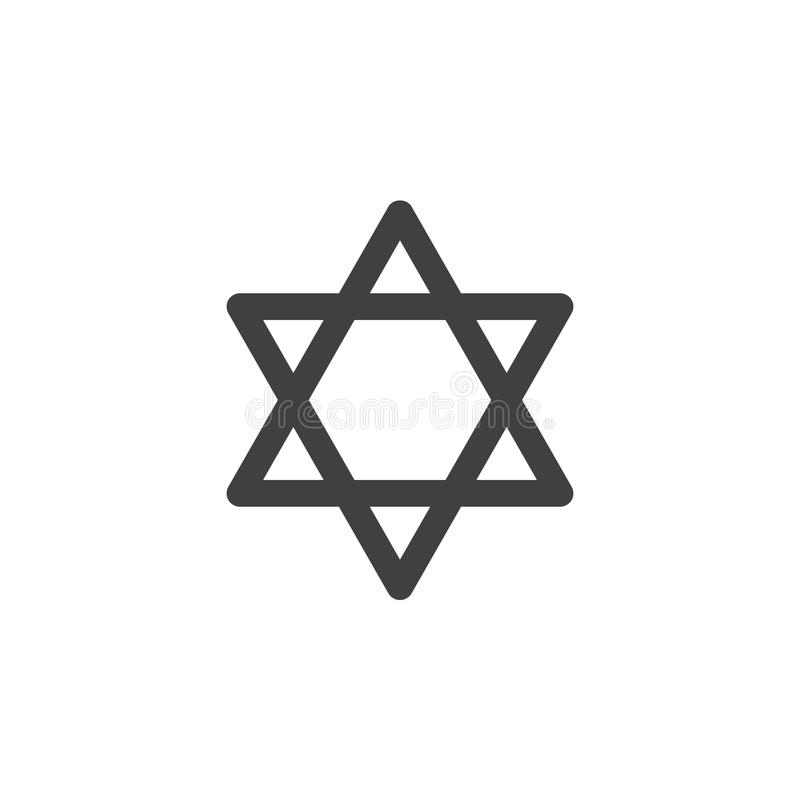 Star of David icon vector, filled flat sign, solid pictogram isolated on white. vector illustration