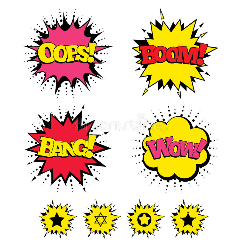Star of David icons. Symbol of Israel. Comic Boom, Wow, Oops sound effects. Star of David icons. Sheriff police sign. Symbol of Israel. Speech bubbles in pop stock illustration