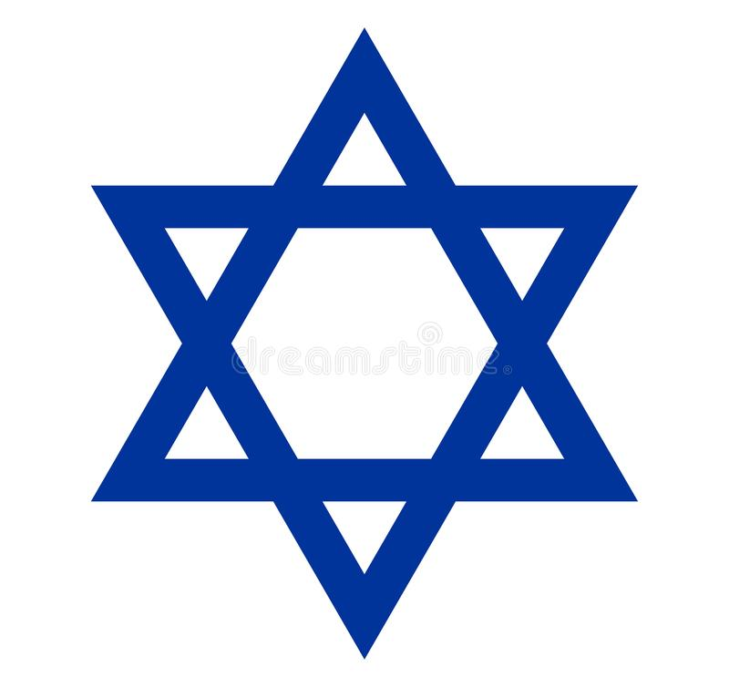 Star of David , Israel flag symbol, emblem, seal. a symbol of Jewish culture and religion. stock illustration