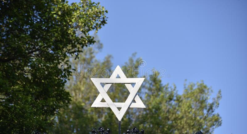 Star of David Jewish Symbol. Star of David, Jewish symbol composed of two overlaid equilateral triangles that form a six-pointed star. It appears on synagogues stock image