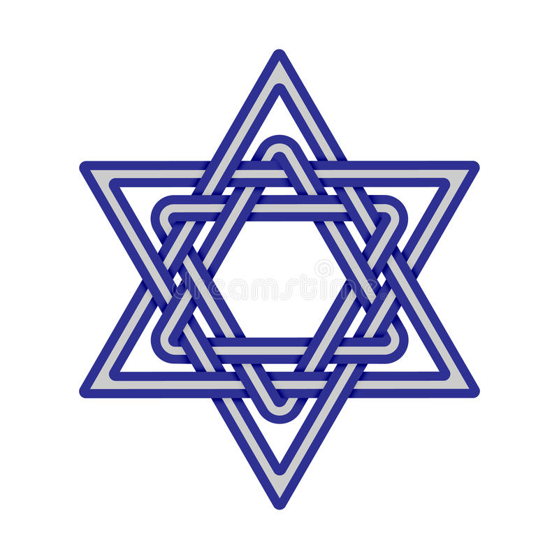 Star of David knoted icon. Vector royalty free illustration