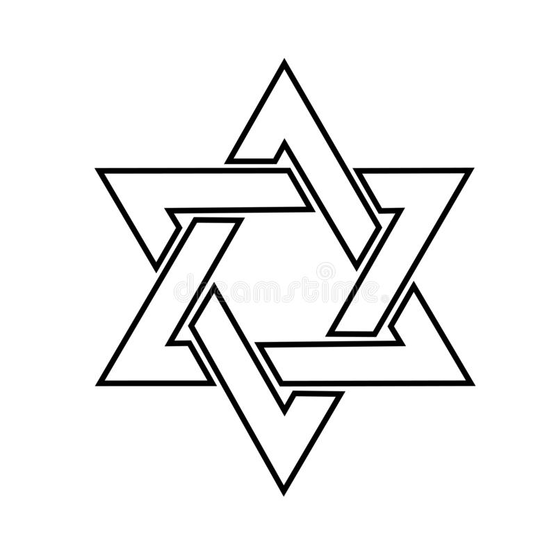 The star of David logo in the . Jewish star of David in on white background vector illustration