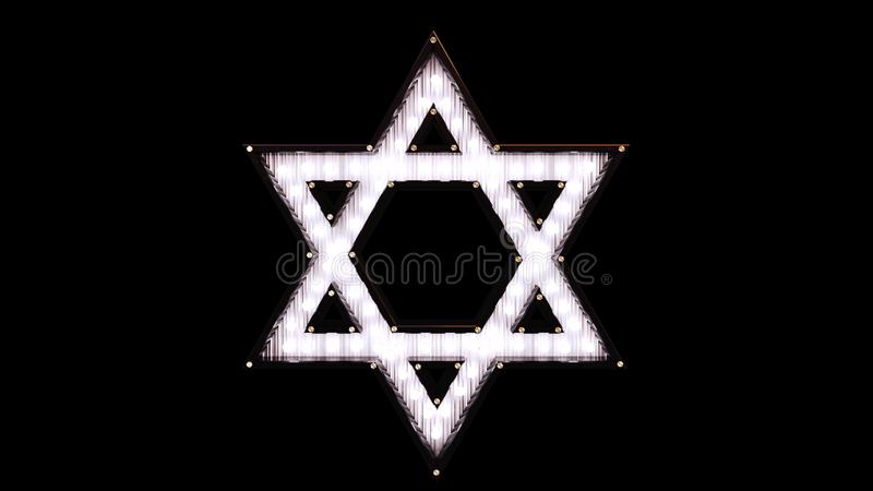 Star of David Made out of Lights stock illustration
