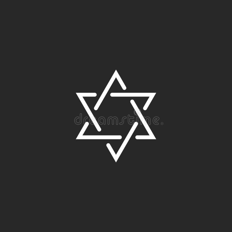 Star of David monogram logo, hexagram of thin line as a Jewish symbol stock illustration
