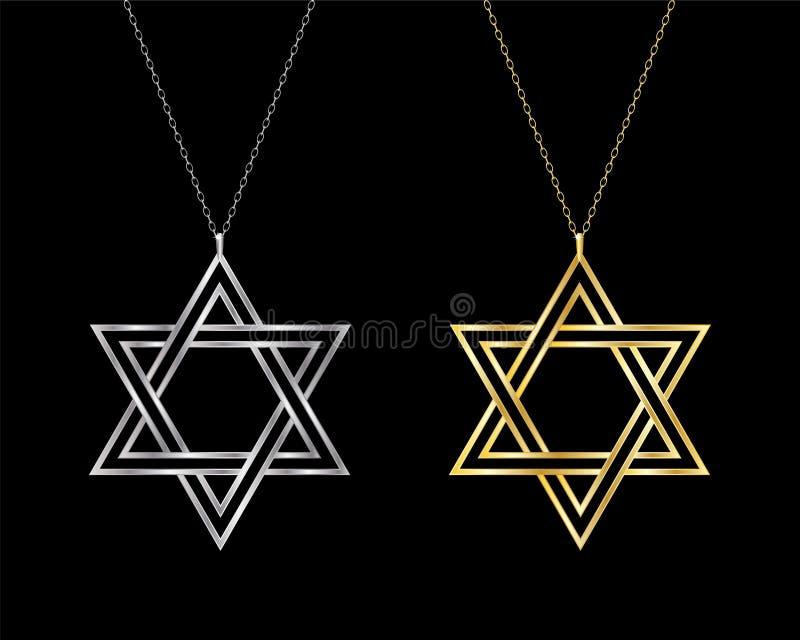 Star of David necklaces. stock illustration