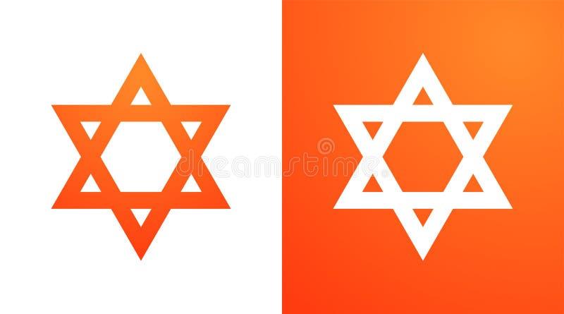 Star of David in orange color. Hexagram symbol of judaism. Star of David in orange color. Tanah Hexagram symbol of Israel judaism on white and orange color stock illustration