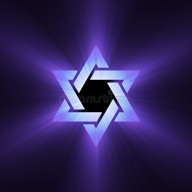 Star of David purple light flare