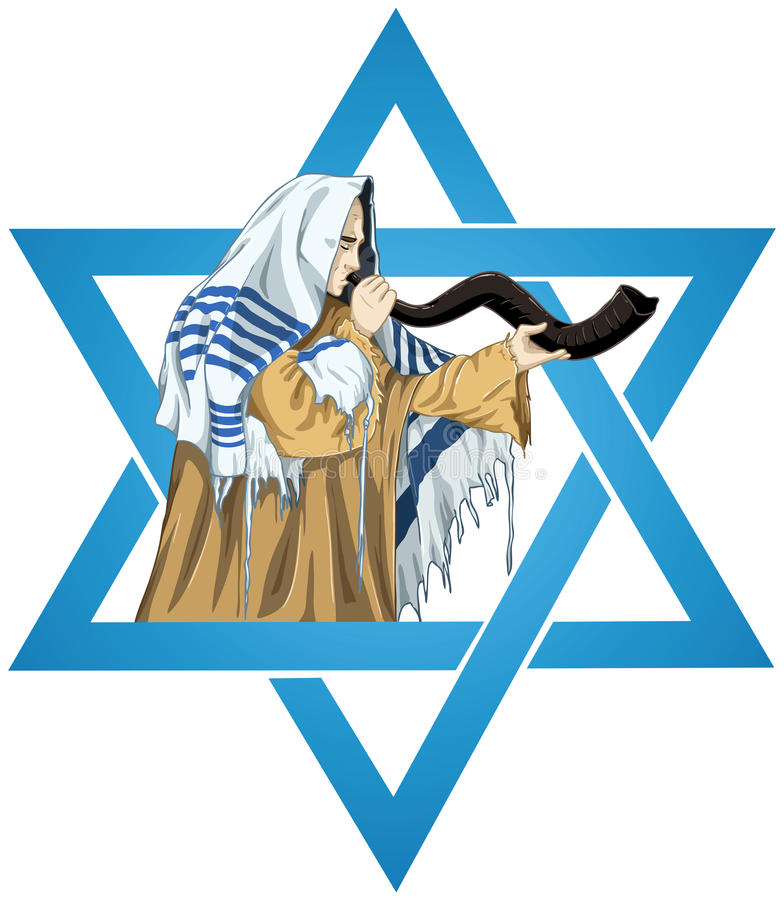 Star Of David Rabbi With Talit Blows The Shofar. A vector illustration of a Rabbi with Talit blows the shofar with the star of David for the Jewish holiday Yom stock illustration