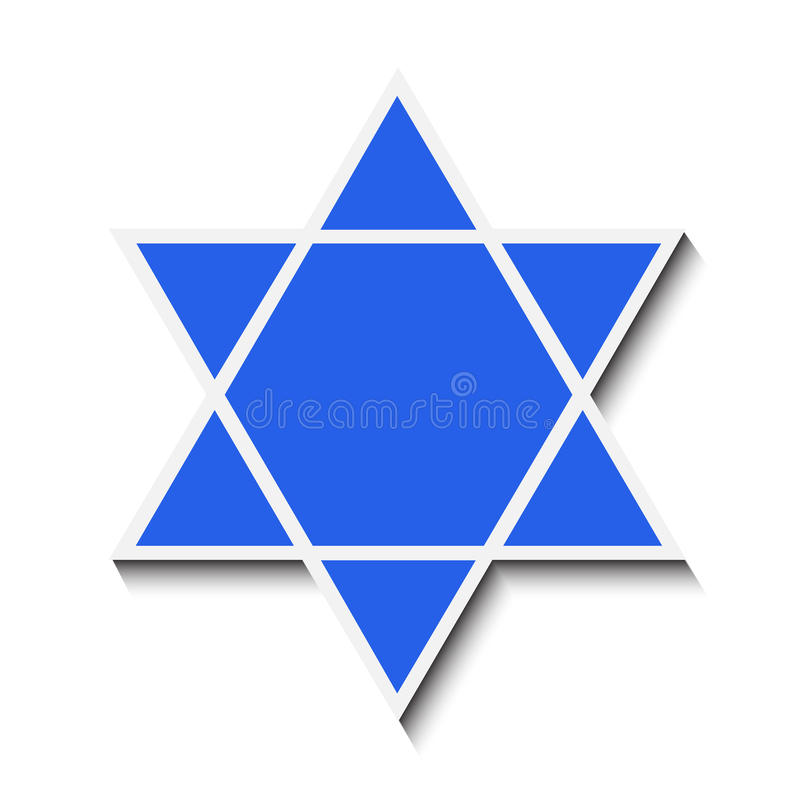Star of David. With a shadow. Isolated on white background. Vector illustration royalty free illustration