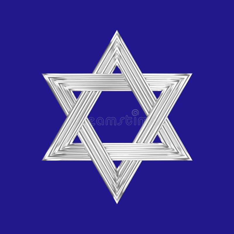 Star of David silver sign blue background stock illustration