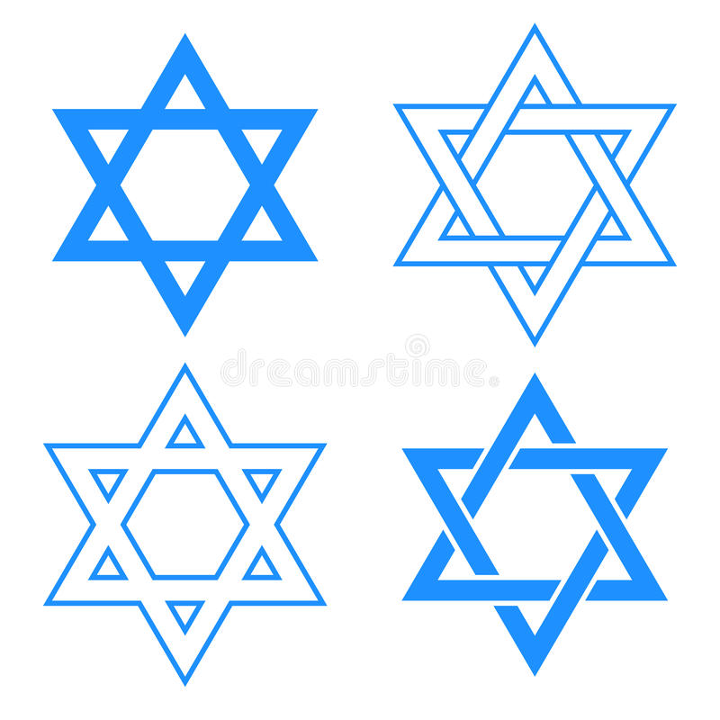 Star of david symbol. Vector blue star of david symbol isolated on white vector illustration