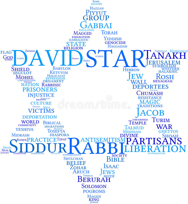 Star of David tag cloud. Illustration tag cloud of star of David on white background with blue words royalty free illustration