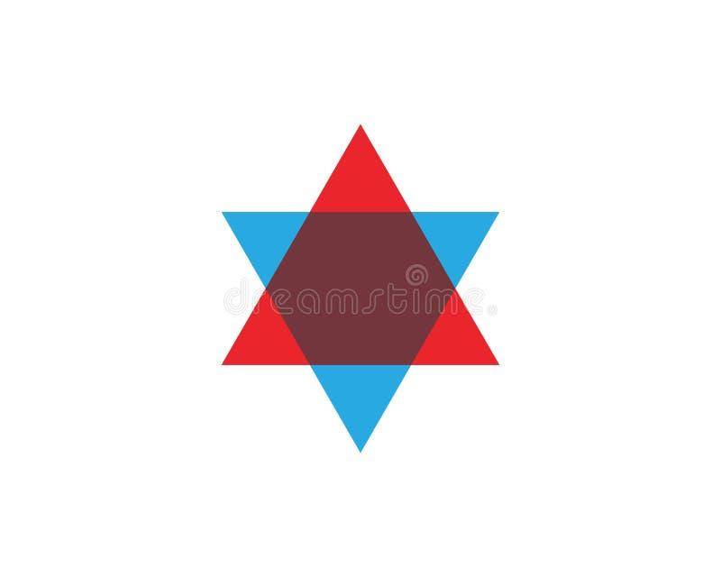 Star David template vector icon. Illustration design jewish magen symbol white israel isolated blue hebrew shield jerusalem judaism hexagram flag hanukkah royalty free illustration