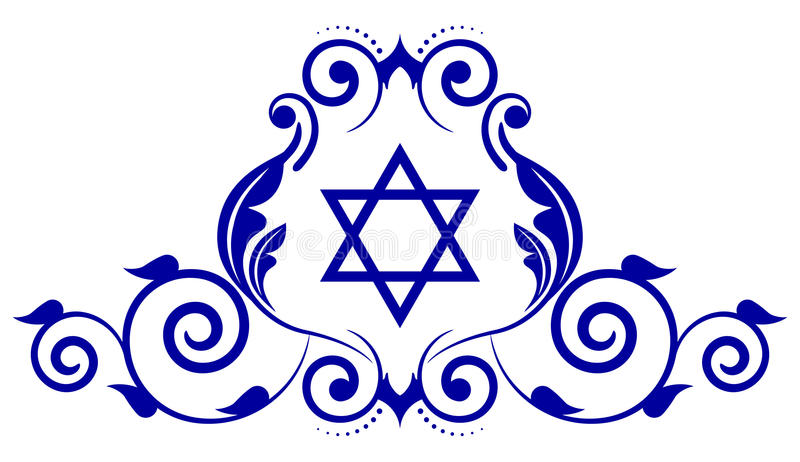 Star of David. Vector floral icon with star of David stock illustration