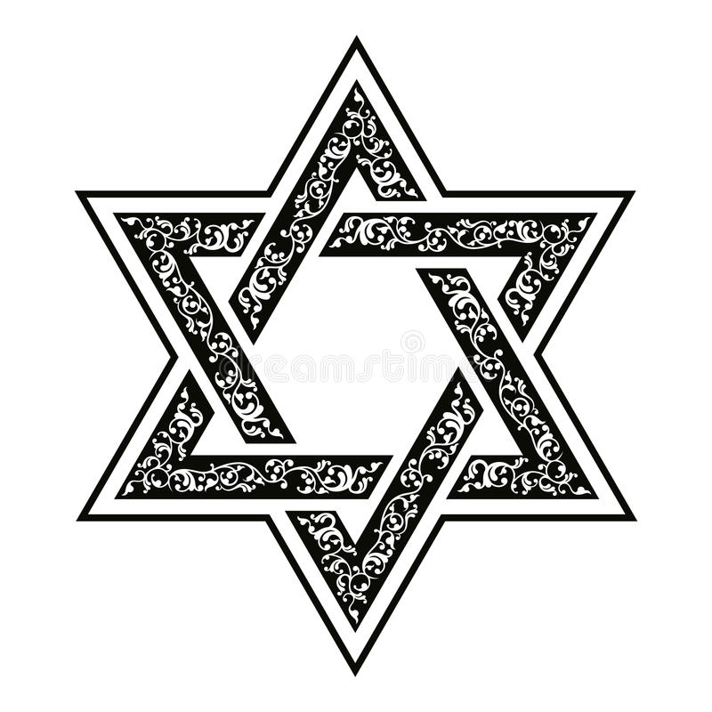 Star of David. Vector hexagonal Star of David with oriental ornaments vector illustration