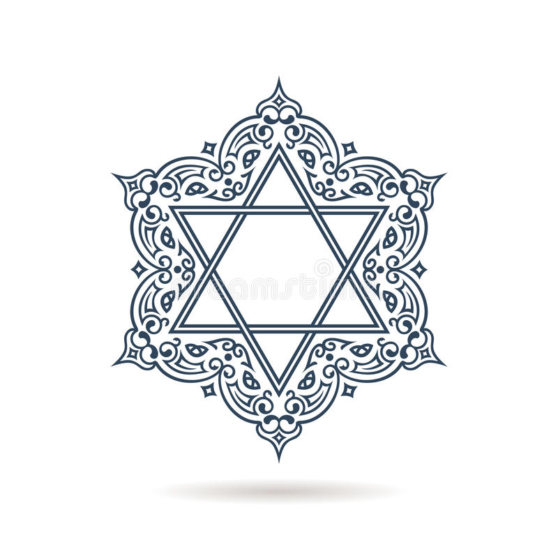 Star of David. Vector Jewish ornament. Blue icon on white background royalty free illustration