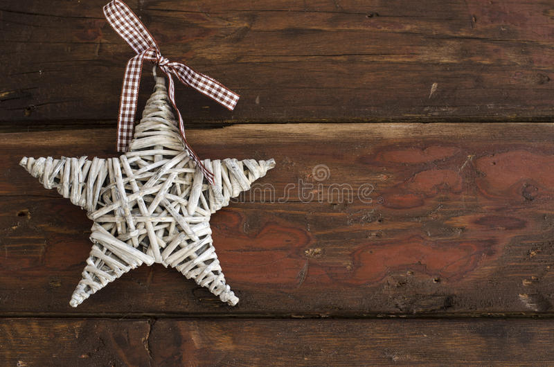 Star decoration on wooden table royalty free stock photos