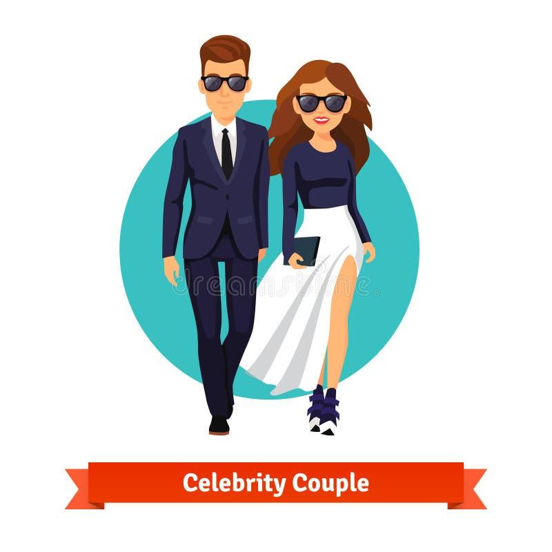 Star di Hollywood alla moda della donna e dell'uomo illustrazione di stock