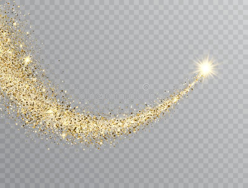 Star dust trail with glitter sparkling particles on transparent background. Gold glittering space comet tail. Cosmic stock illustration