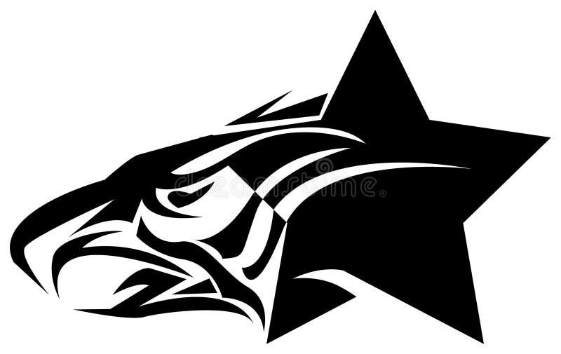Star eagle. Line art tattoo design stock illustration