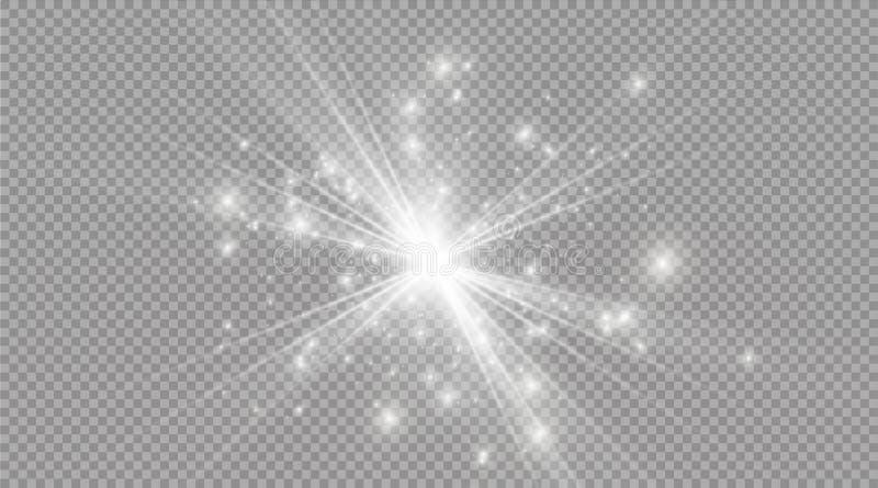 Star em um fundo transparente, efeito da luz, ilustração do vetor explosão com sparkles ilustração stock