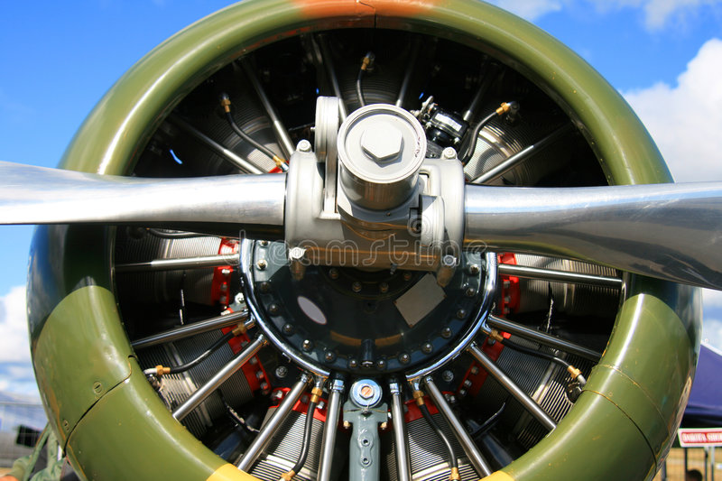 Star engine on a old war plane stock images