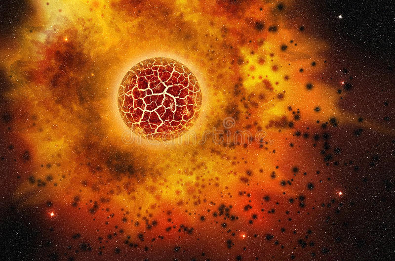 Star exploding in the outer space. Red star exploding in the deep space vector illustration